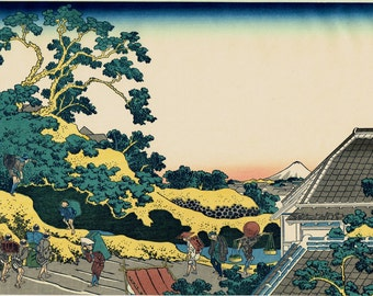 "Japanese Ukiyo-e Woodblock print, Katsushika Hokusai, ""Sundai, Edo, from the series Thirty-six Views of Mount Fuji"""