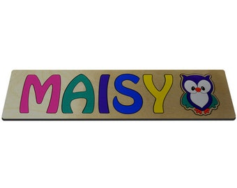 Personalized Wooden Name Puzzles With Cute Owl & Child's Name id267655919
