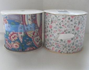 2 rolls of vintage ribbon, flower pattern ribbon, fabric ribbon, wide width ribbon