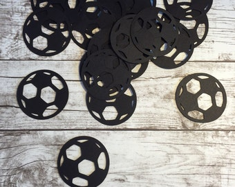 Soccer Ball Die Cut - black paper - pack of 25 - football, goal, sports