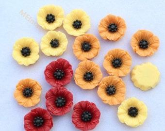 30pcs Resin Poppy Flower Flat back resin Flower bead  19mm SZ0027