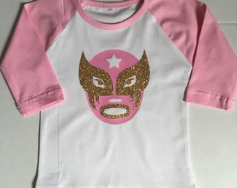 Luchador, lucha libre, pink and gold, baseball tee