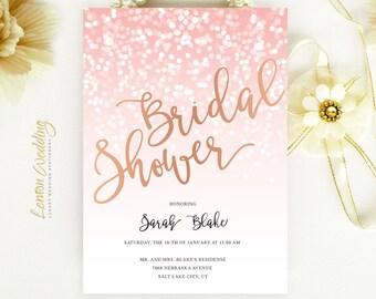 Rose gold bridal shower invitation printed on shimmer papper | Sparkling wedding shower invitations cheap