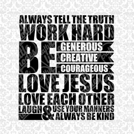 Rules Subway Art - Love Jesus Work Hard SVG STUDIO Ai EPS Scalable Vector Instant Download Commercial Use Cutting File Cricut Silhouette