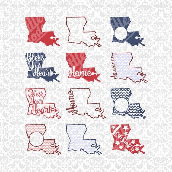 Louisiana State Set Monogram Chevron Home Outline SVG STUDIO
