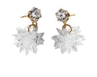 Shiny pendant ice crystals earrings