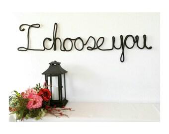 Wire Word Art, Custom Wedding Signs, Wedding Wall Decor, Wedding Wall Art, I Choose You Sign, Black Wedding Decorations, Yarn Art,