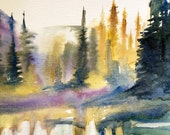 Watercolor trees, misty pines, Misty trees, Conifers, Mount Rainier national park, Sunrise