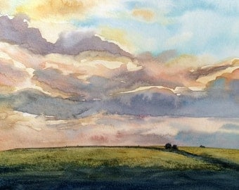 Cloud painting, Sky painting, Sky watercolor, sunset, sunset over fields, landscape watercolor, dusk, landscape painting, Cloudscape