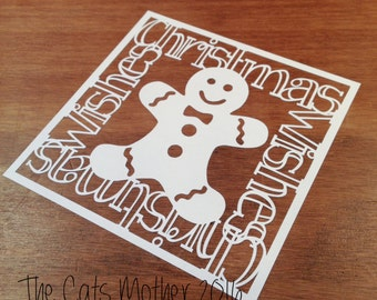 Gingerbread Man Christmas Themed Paper Cutting Template - Commercial Use