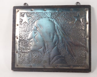 Indian Head Punched Tin Art Folk Art Hand-Punched