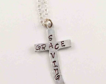 Hand Stamped Cross Necklace