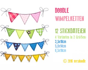 12 files - set Wimpel chain - 4 doodles in 3 sizes