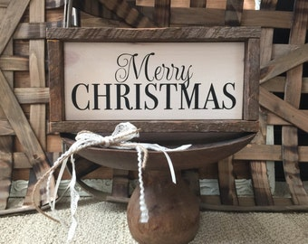 Rustic Merry Christmas Sign Framed in Tobacco Lath