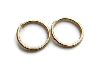 Gold Hoops 2nd Piercing Cartilage Earrings, Small 8mm