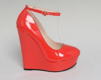 Red Platform Wedges Women Size 13