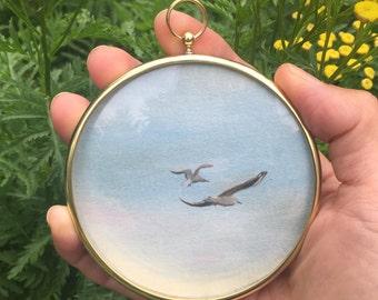 Framed Seagulls 1 original oil painting