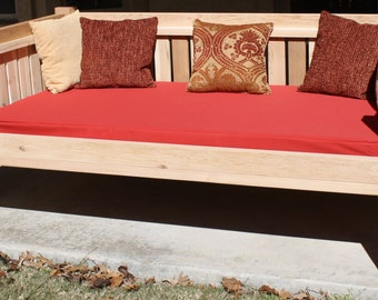"Brand New Cedar Patio Daybed in Victorian style, Queen Size Bed with 5"" Thick Outdoor Cushion - Free Shipping"