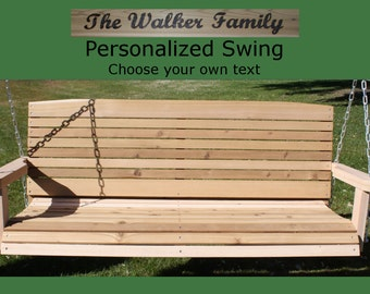 New Personalized 5 Foot Cedar Wood Colonial Porch Swing - Choice of Name/Phrase Woodburned On Swing - Hanging Chain - Free Shipping