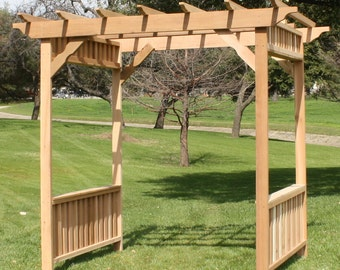 Brand New Extra Large Deluxe Decorative Cedar Garden Arbor - Over 8 Feet Wide - Free Shipping