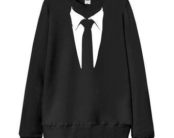 "Men Sweatshirt, Women Sweatshirt, Gift for dad, Gift for him, ""Suit Shirt & Tie"" Cosplay Costume, French Terry Sweater"