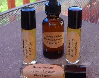 Patchouli, Lavender, Black Pepper Essential Oil Blend - Spicy Essential Oils - Organic Essential Blend - Fragrance for Him