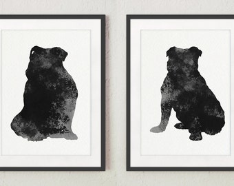 English Bulldog Silhouette Grey Wall Poster, Black White Watercolor Illustration, Set 2 Dogs Drawing, Abstract Animal Art Print Home Decor