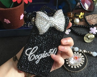 Black Bling Personalized Diy Name Cursive Letter Words Luxury Lovely Bow Fashion Sparkles Crystals Rhinestones Diamond Case for Mobile Phone