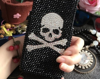 Bling Silver Skull Bones Lovely Fashion Sparkles Charms Glossy Unique Crystals Rhinestones Diamonds Gems Hard Cover Case for Mobile Phone