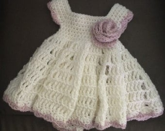 Baby Girl Crochet Dress White with Purple Flower