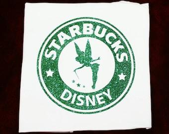 """Starbucks & Disney """"Tinkerbell"""" (Glitter) T-shirt"""