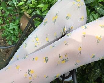 Shiny Glossy Pantyhose with Small Yellow Flowers Print Silky White Printed Tights Italian Fashion Vintage Stockings Spring Fashion Pantyhose