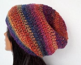 Crochet Hat, Womens Beanie, Slouchy Beanie ,Slouchy Hat, Striped Hat,Winter Hat,Snowboard Beanie