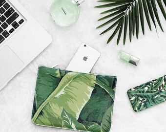 Watercolor Tropical Banana Leaf Clutch - 7x9 in Faux Leather Handbag - Clutch - Pouch - AGB-070-WHITE-FULL