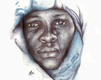 African man A4 print