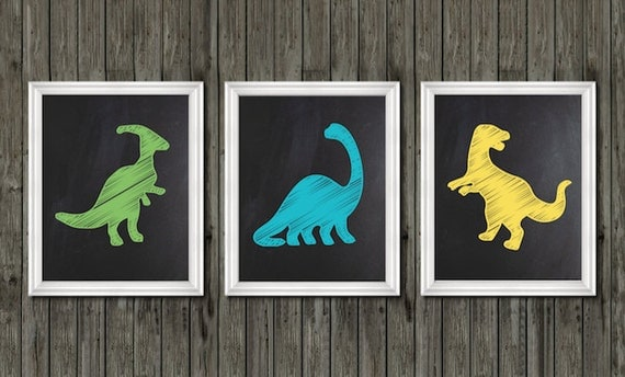 Dinosaur nursery decor dinosaur prints boys dinosaur room - Boys room dinosaur decor ideas ...