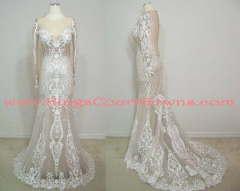 Replica Couture Long Sleeve Nude and Ivory Illusion Lace Open Back Pearl Button Trumpet Dress Gown Chapel Train