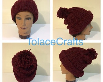 Slouchy ribbed beanie cap hat