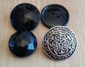 Vintage Button Lot, Black