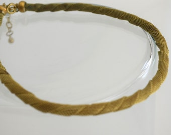 Gold Tone Vintage 1950s Twisted Rope Style Choker Necklace