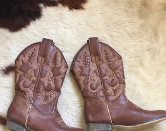 Girls Cowgirl Boots-Children's Cowgirl Boots-Western-Faux Leather-Vegan Boots-Chikdrens Western-Size 12