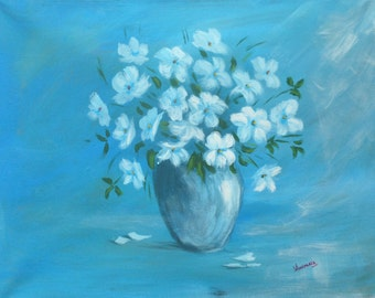 """Original Abstract Painting 40x50cm(16x20 Inch) Acrylic on Canvas """"Flowers"""" blue"""