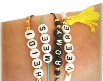 All black letter Beads Bracelet with silver (925) or gold (14krt gold plated) beads