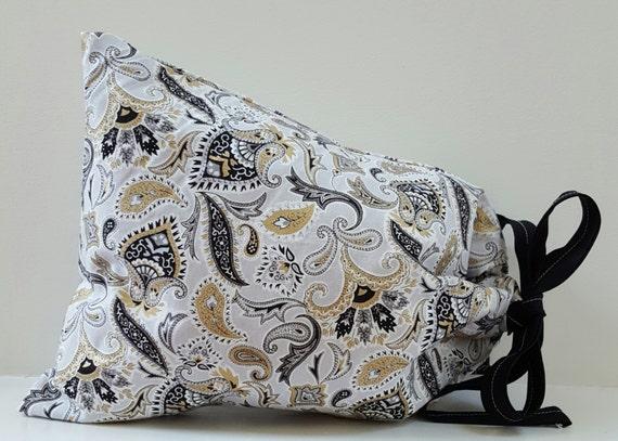 Bag Paisley Fabric Print; Drawstring Paisley Print Bag; Lined Drawstring Bag; Gift Bag