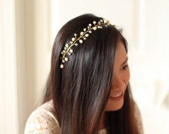 Bridal Headband - Dew Drops Vine Headband - # 8 - Made to Order
