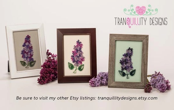 Single Bright Purple Lilac Bloom Framed Paper Quilling