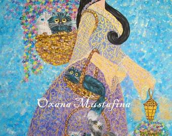"Acrylic paint ""Princess - florist concerning cats"""