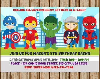 "Boys Avengers Birthday Invitations- Sibling Superhero party- Avengers Superhero Invitation- Thor, Hulk, Spiderman- 4""x6"" size- Digital"