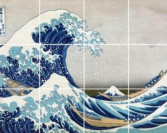 The Great Wave off Kanagawa Tile Mural Painting Back Splash Kitchen Home Decor Art