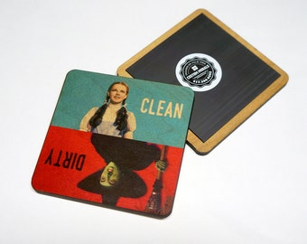 Clean Dirty Dishwasher Magnet Wizard of Oz Dorothy Wicked Witch Wooden Notifier Sign